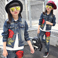 4-14 years Spring fall Style Girls Big embroidery roses clothing set Denim jacket + Jean pant two piece set cowboy 2 pcs suit