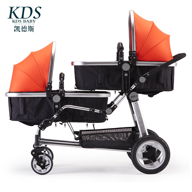 Kds Twin Детские коляски Высокая Пейзаж два ребенка тележка стороны два раза спереди и сзади может лежать роскошный зонтик тележки новорожденн...