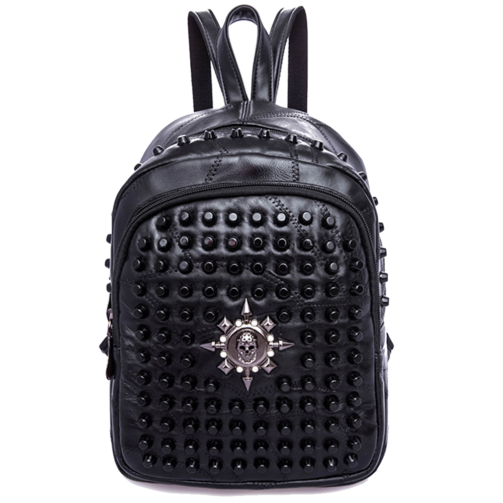 Leather Fashion Pattern With Sculls Backpack Daypack Bag Women
