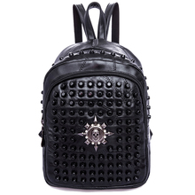 цены small Rivets Backpack 2017 Genuine Leather Women Bag sheepskin Female School Bag Leather Women Backpack girl skull shcool Bags