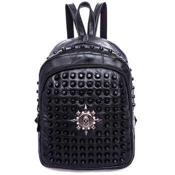 Rivets Backpack women Genuine Leather sheepskin Punk Style skull Rivet Backpacks Black bagpack travel school girls backpacks popular rock style natural sheepskin women backpack fashion rivets women s travel bags casual patchwork genuine leather bag