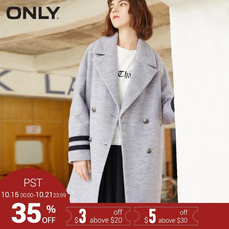 SEULE Marque laine de mode broderie lettre patch double breasted rayures manches longues femme manteaux veste manteau 117327504