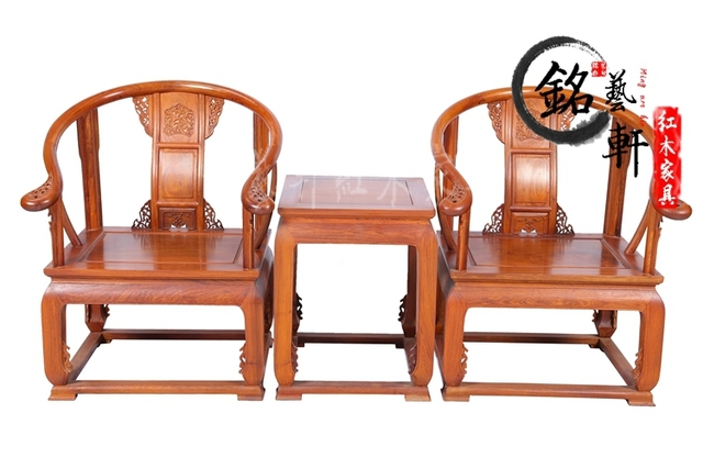 Móveis de mogno jacarandá birmanês, Antigo de madeira de rosa cadeira de três peças da coroa