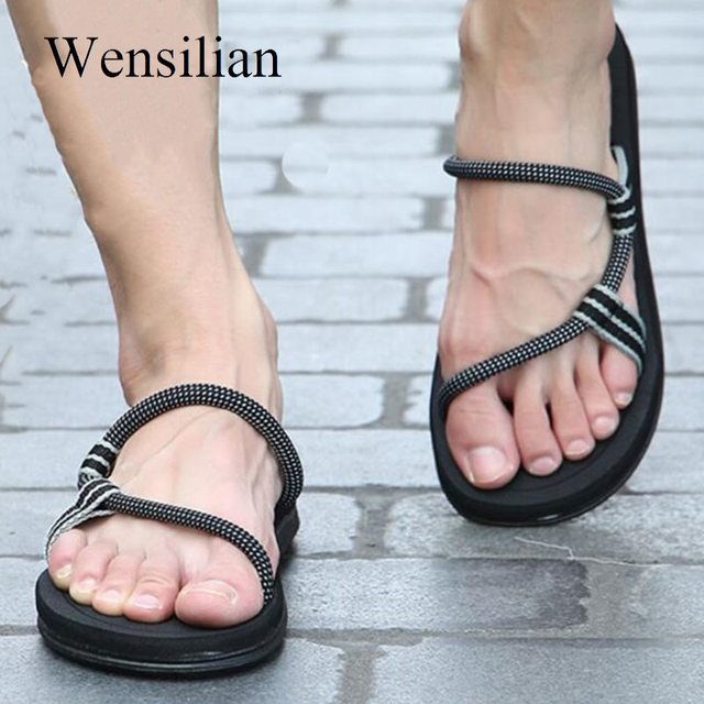 Sandals Men Sandalias Hombre Gladiator Sandals for Male Summer Roman Beach Shoes Flip Flops Slip on Flats Slippers Slides 1