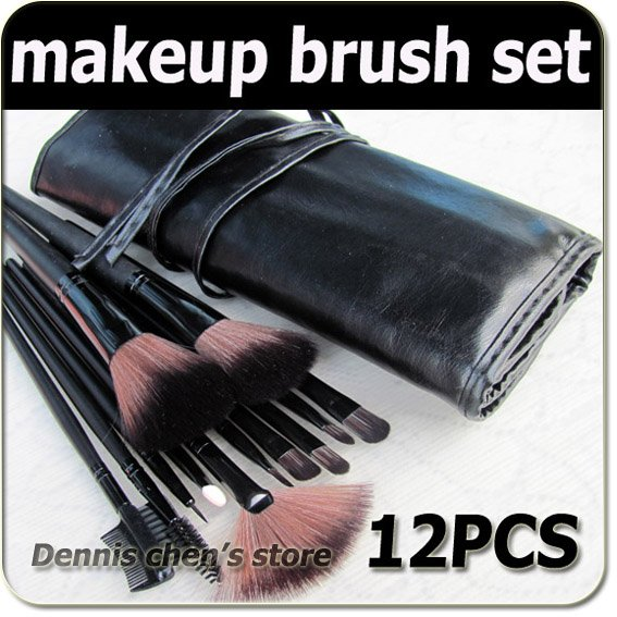 Professional 12 pcs make up Cosmetic Brush Set / makeup brushes with Black holder bag Free shipping wholesales