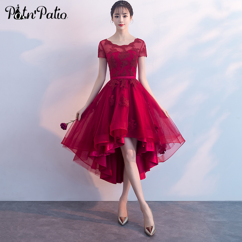 Luxury High Low Prom Dresses 2019 Elegant Short Front Long Back Red Prom Dresses With Cap