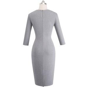 Image 2 - Nice forever vintage cor pura oco em torno do pescoço vestidos festa de negócios bodycon elegante escritório trabalho vestido feminino b488