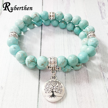 Ruberthen Tree of Life jewelry Yoga Mala Bracelet Stone Healing Protection Elastic Beaded Stacking Bracelet
