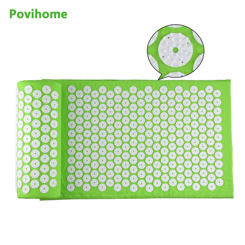 Massage Cushion Set Acupressure Therapy Mat Relieve Stress Pain Relief Acupuncture Spike Yoga Mat with Pillow Green D06897 povihome 1set massage cushion acupressure therapy mat relieve stress pain relief acupuncture spike yoga mat with pillow d06874