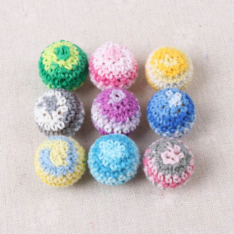 Double color Elegant 20mm Crochet Beads Woolen Yarn For Choose Knitted By Cotton Thread DIY Jewellery Making 5 Pcs