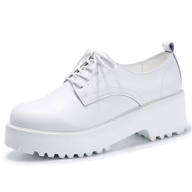 Zapatos de plataforma de Mujeres de Los Planos Ocasionales de Las Mujeres Zapatos de Cuero Blanco Negro