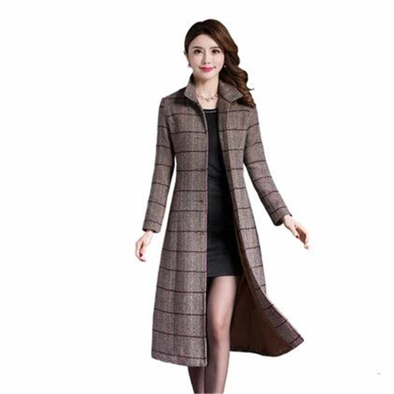 New large size winter coat women wool slim women's long coat Thicken lattice Woolen coats high quality elegant women coats 2086