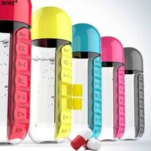 600 ML Del Color Del Caramelo caja de La Píldora Caja de La Píldora Organizador Portable Botella de Agua 7 Diario Kit Tritian Combine Plástico Botella de Agua C4