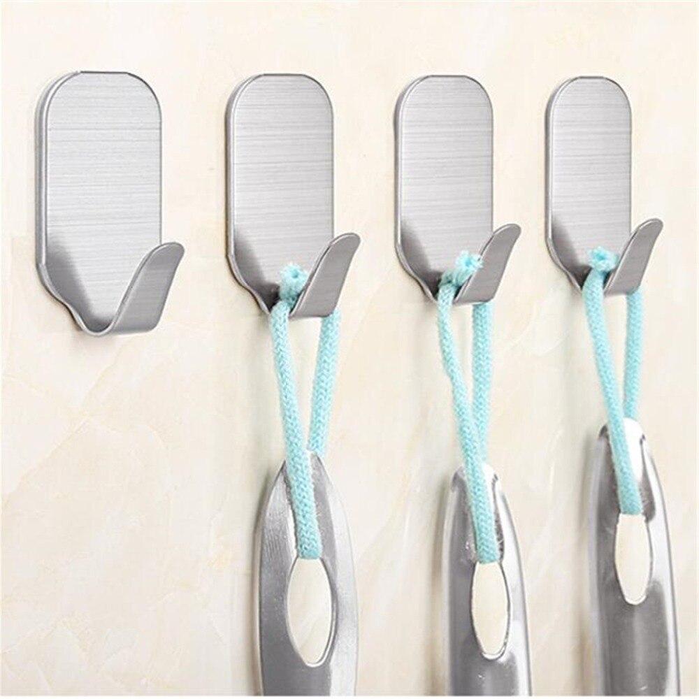 SUS 304 Stainless Steel Bathroom&Kitchen Wall Hook Self-adhesive Wall Door Clothes Coat Hat Hanger Waterproof Towel Hooks