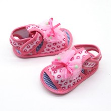 Baby summer sandals bow yarn flower baby girl sandals little print baby soft bottom shoes toddler shoes(China)