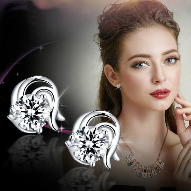 Hot Item Quality Constellation Silver Plated Stud Earrings For Women Crystal Trendy Wedding Jewelry