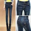 Бесплатная доставка высокой талией джинсы женские узкие брюки темно-синий тонкий карандаш растения длинные 2016 весной и осенью женщин джинсы