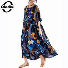 af5b23ad597df4 Oladivi Surdimensionné grande taille Femmes De Mode Imprimer décontracté Coton  robe de lin Dames Lâche Longue Maxi Robes Tunique.