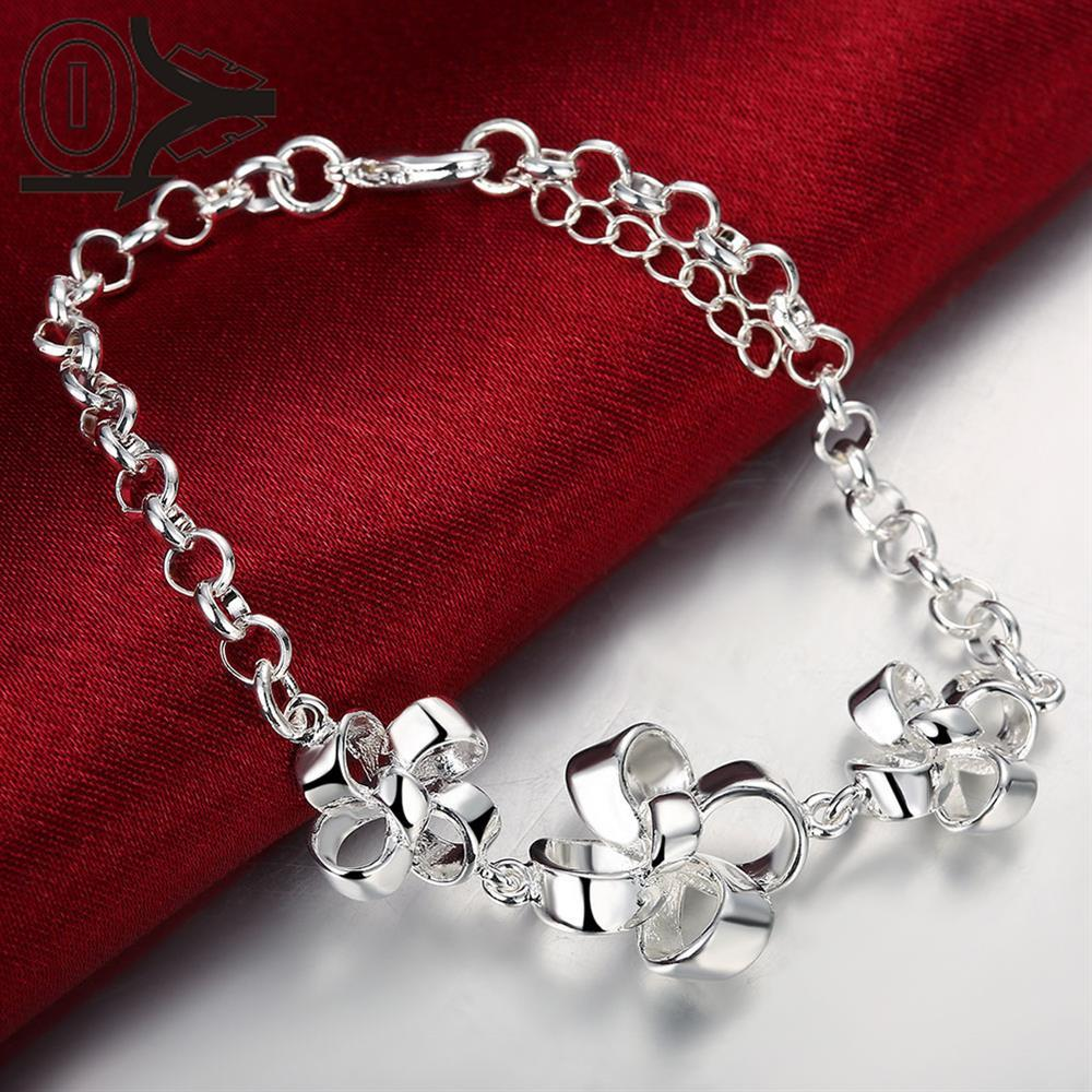 Free Shipping Silver Plated Bracelet,Latest Women Classy Design,Three Windmill Flowers Ladies Girl Bracelets Christmas Gfit