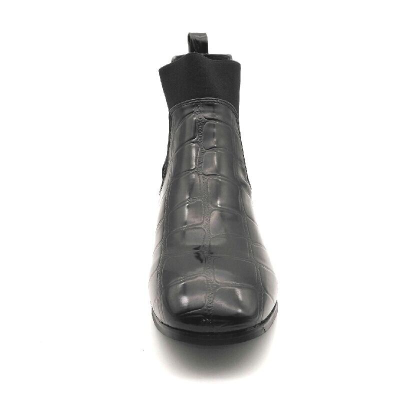 Automne Mode Cheville Black Motif En Verni Zapatos Élastique Single Bande Femmes Mot Mujer Pierre black Chaussures Femme Jouets Cuir De Mi Talons E Bottes Velvet qUF6tW