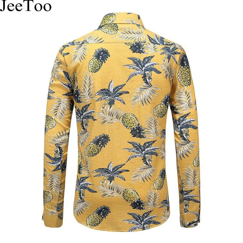 c2b6feac JeeToo Floral Mens Shirts Long Sleeve Print Pineapple Mens Casual Shirt  Cotton Hawaiian Shirt Men Slim Fit Chemise Homme Blouses