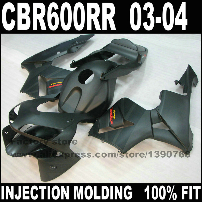 7gifts motorcycle parts for  CBR 600 RR  fairings kits  2003 2004 CBR600RR 03 04 matte black body repair airing set motorcycle fairing kit for honda cbr600rr f5 03 04 cbr 600rr 2003 2004 cbr 600 rr blue flames black fairings set 7 gifts hx09