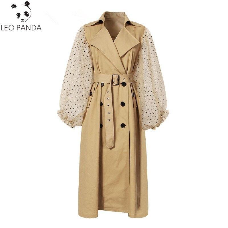 2019 Spring Autumn Patchwork Polka Dot Lantern Sleeve   Trench   Coat Female High Waist Lace Up Women's Windbreaker Fashion Coats
