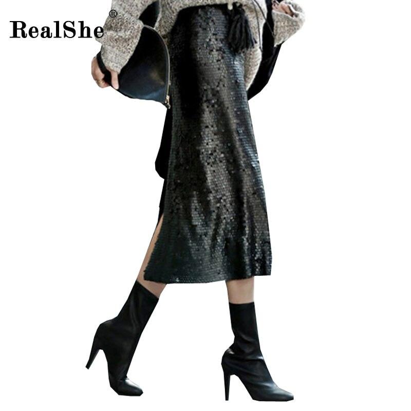RealShe 2018 otoño Sexy lentejuelas falda lápiz mujer invierno de cintura  alta Saia mujer Bodycon Midi faldas para mujer envío gratis daa14c37fcaa