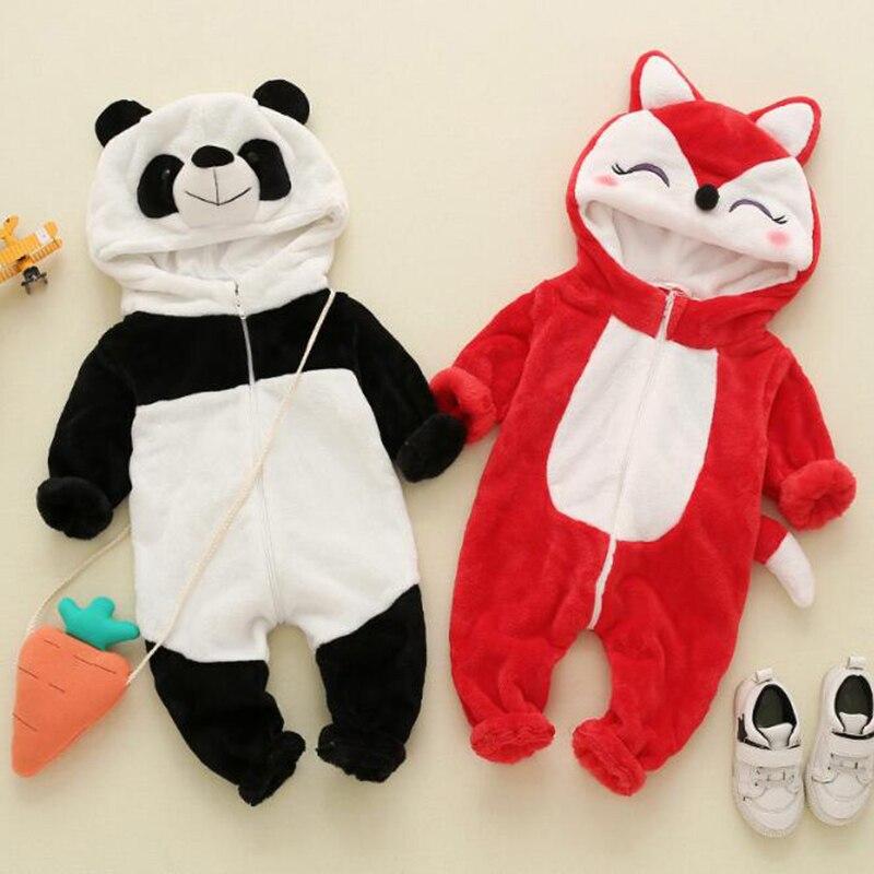 Baby Panda Fox Kigurumi Pajamas Newborn Infant Romper Animal Onesie Cosplay Costume Outfit Hooded Jumpsuit Winter Spring Suit