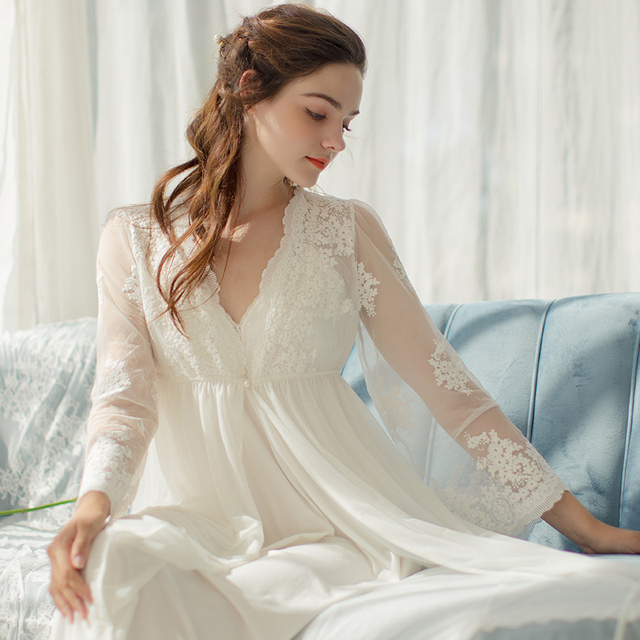 Lace Robe Long Robe Lady White Lace Embroidery Robe and Slip Two Pieces For Women Robe Sleepwear Bride
