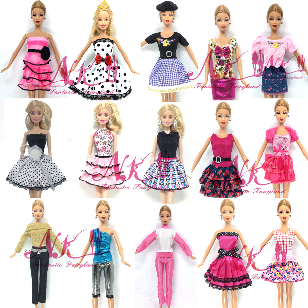 NK 15 Set/Lot Mix Style Newest Doll Dress Beautiful Party Clothes Top Fashion Dress For Barbie Doll Best Girls Gift Baby Toys