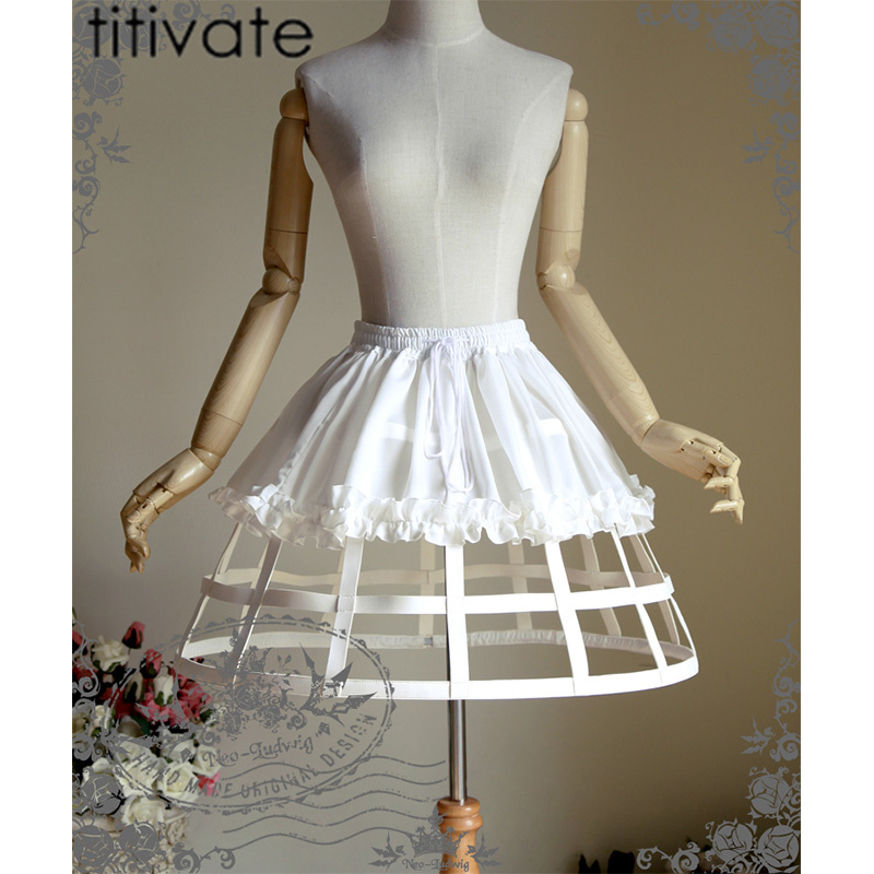 TITIVATE Fashion Women Tutu Skirt Mini A-Line Lace-Up Petticoat Vintage Steampunk Skirts Plus Size Clubwear