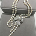 7-8 ММ долго пресной воды жемчужное ожерелье с бантом ожерелье риса форму жемчужины бесплатная доставка моды женщин ювелирные изделия