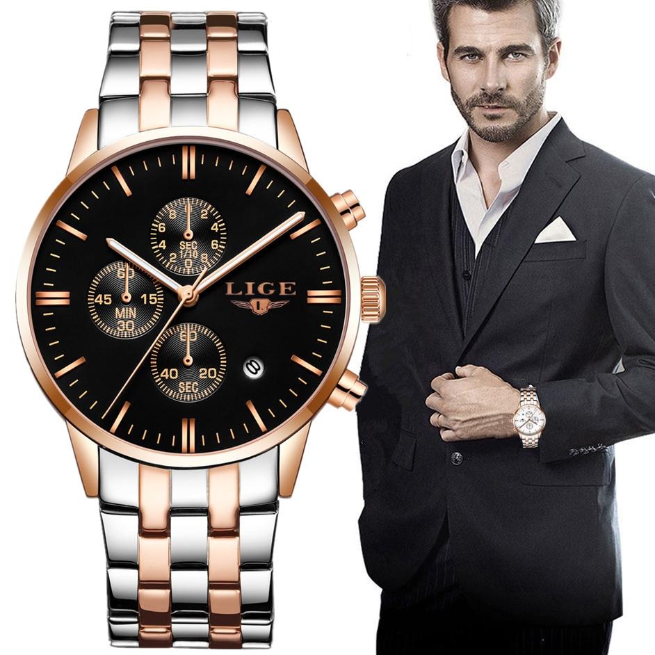 relogio masculino lige hommes montres top marque de luxe de mode casual quartz montre hommes