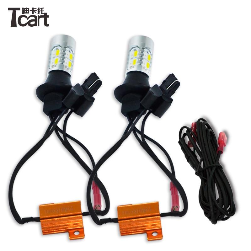 Tcart car led light Luces de circulación diurna y señales de giro delanteras DRL Bombilla automática para Renault Dacia PY21W S25 BAU15S 1156 150dgree