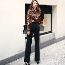 Women Sexy Two Piece Set female Leopard long Sleeves T Shirt Tops+Long Pants Korean Single Breasted Bodycon trouser suits two tone cream long sleeves high low t shirt