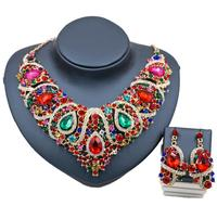 Women Statement India Style Necklace Earrings Sets Bridal Wedding Party Necklace Water Drop Golden Crystal Jewelry Sets