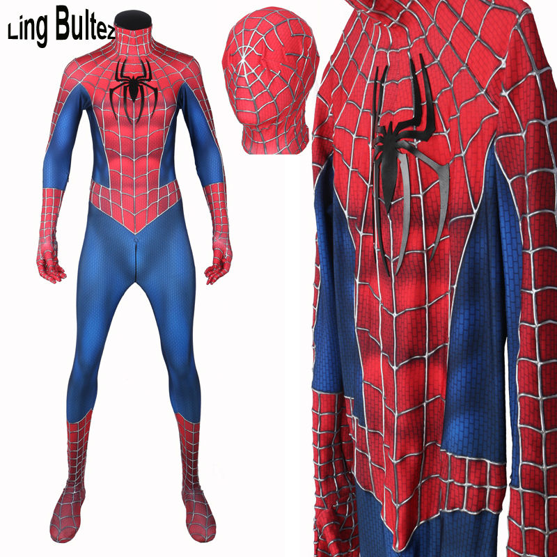 Ling Bultez Newest Raimi Spiderman Costume With Relief Webs 3D Cobwebs Spiderman Suit Adult For Men Raimi Spiderman Cosplay