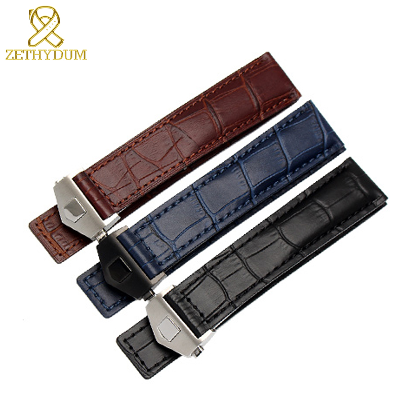 Genuine leather bracelet 19mm 20mm 22m watchband mens wristwatches band  accessories watch belt  fold buckle leather watch strap