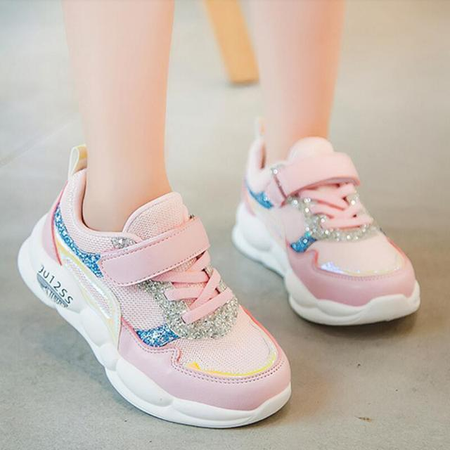 SKHEK ילדי נעלי בני ילדה סניקרס מקרית ילדי תינוקת אוויר רשת לנשימה רך ריצה ספורט נעל ורוד כסף