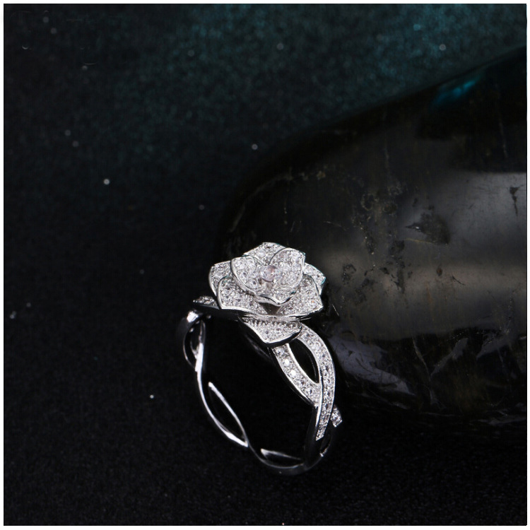 Bilincolor fashion silver color tiny cz pave settering rose flower ring for women bridal wedding jewllery
