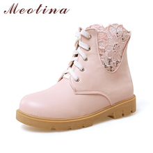 Meotina/женские ботильоны Низкий каблук полусапожки Кружево зимние сапоги осень 2017 г. Дамская обувь большой Размеры 34–43 белый розовый обувь для девочек