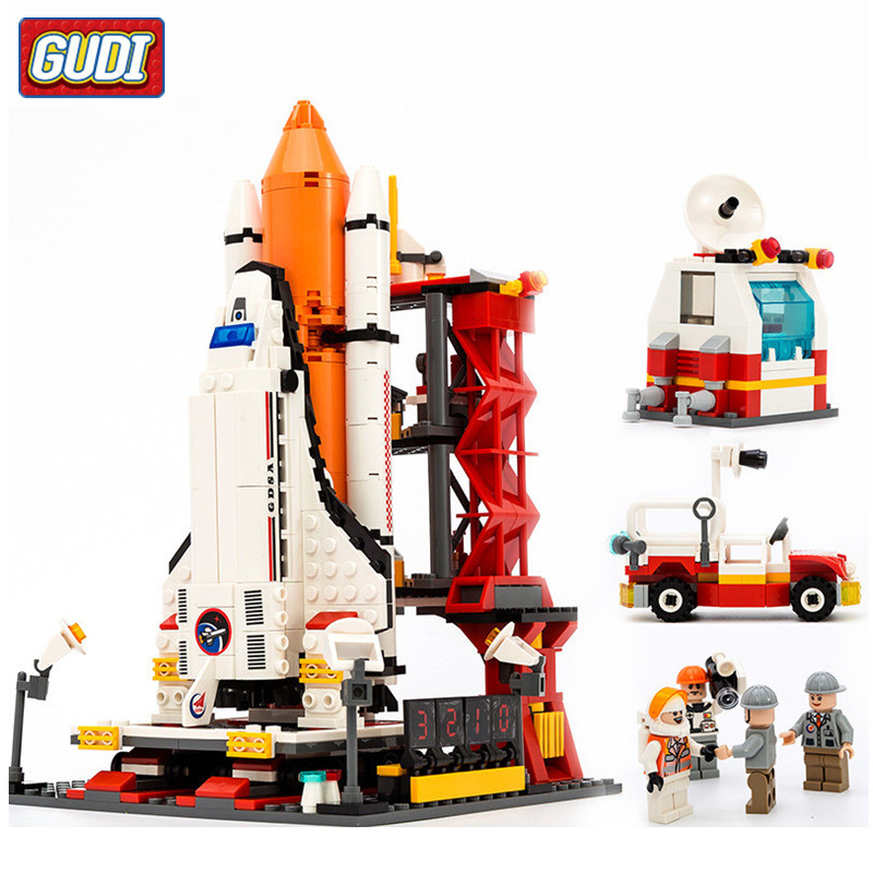 GUDI City Shuttle Launch Center Blocks 679pcs Spaceport Space Bricks Building Block Sets Educational Classic Toys For Children loz mini diamond block world famous architecture financial center swfc shangha china city nanoblock model brick educational toys