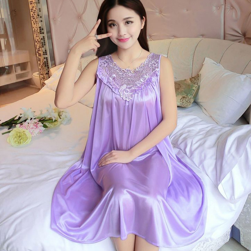 Lace Ice Silk Satin Night Dress Smooth Nightwear Sexy Women Sleepwear Summer Sleeveless Satin Nightgown Vestidos(China)