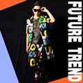 O cantor bar DJ cor letras jaqueta calça masculino traje mostrar para o dançarino desempenho boate show de estrela da moda