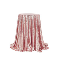 Tablecloth 100% brand new high quality rose gold reusable delicate edge flash round sequins banquet tablecloth cover #4M08