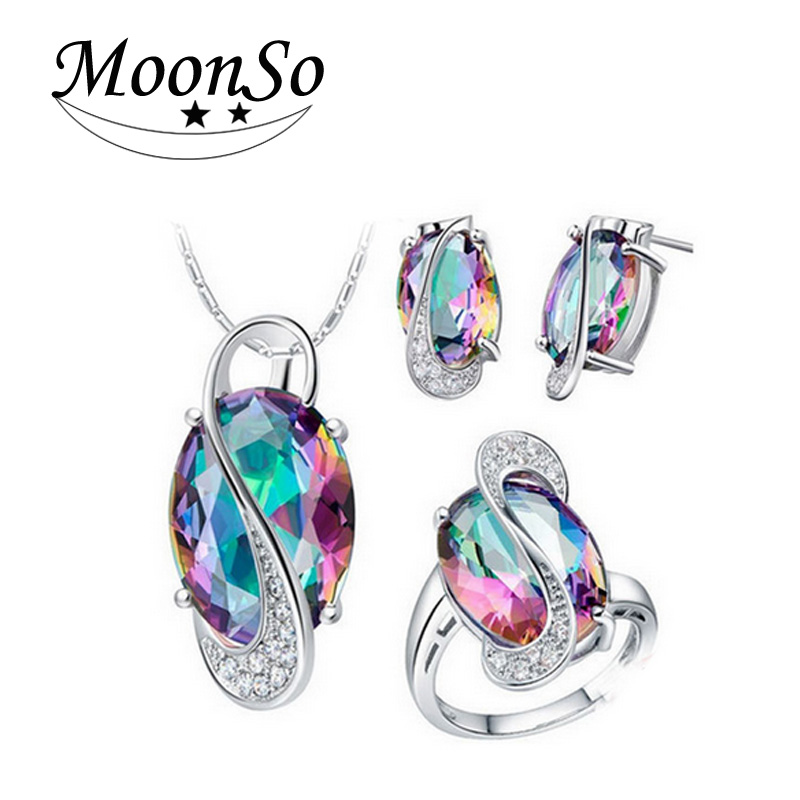 אופנה רב צבע כחול 925 כסף סטרלינג תכשיטים עבור נשים חתונה אפריקאית אופנתי המפלגה מתנות חג המולד תכשיטים J651