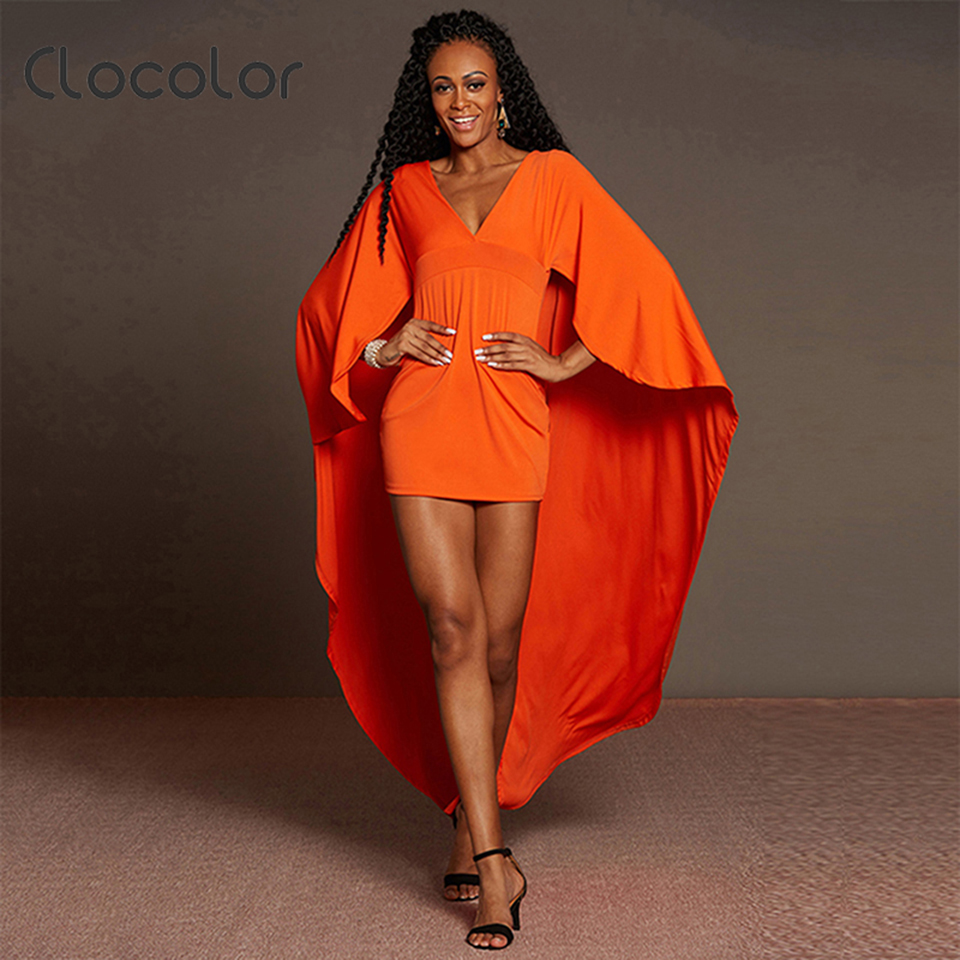 Clocolor Women Summer Asymmetrical Orange Female Floor Length Sexy Dress V Neck Batwing Sleeve Club Full Sleeve Zipper Dresses