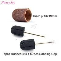 Professional Size 13x19mm 5pc Rubber Drill Bit 50pcs Sanding Cap Nail Art Beauty Tools Access For
