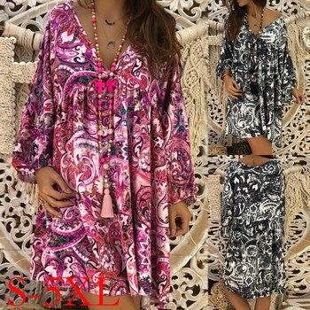 184fe2c4a762 MUQGEW nueva llegada primavera nuevo Casual vestido de impresión playa  vestidos de fiesta S-XXXXXL de gran tamaño de Color Venta caliente de las  mujeres de ...
